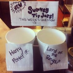 21 Incredibly Effective Tip Jars: kids vote Funny Tip Jars, Funny Tips, Lotr, The Hobbit, Bartender, Good To Know, Fundraising, Coffee Shop, Geek Stuff