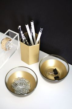 DIY these gold desk bowls for your workspace.