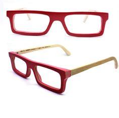TAKEMOTO TAKE handmade  square  red bamboo  prescription eyeglasses  MJX1201 C0501