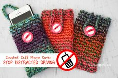 Repeat Crafter Me: Crochet Cell Phone Cover: A Reminder to Never Talk, Text, and Drive! ~  THE PERFECT GIFT FOR VIRTUALLY EVERYONE!!!