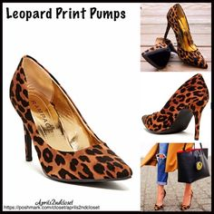 "Leopard Print Pump High Heels Leopard Chetah Print Pump High Heels NEW WITH TAGS   * Almond pointed / pointy Toe  * Allover Leopard Chetah animal print   * Slip on style  * Approx 3.75"" heel   * Logo footbed   * True to size Material: Manmade faux suede upper & sole.  Color: Black leopard  Item:93100 * See separate listing for wedge sandals available in leopard print ***Model is wearing a similar shoe for styling purposes only No Trades ✅ Offers Considered*✅ *Please use the blue 'offer'…"
