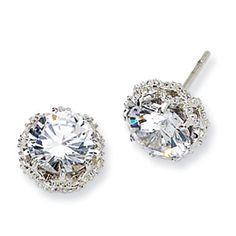 Cheryl M Sterling Silver Round CZ Post Earrings. $40