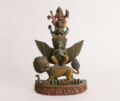 Antique Nepali Hindu Carved Wooden Vishnu Statue | Garuda Vasudhara Newar Guardian Figurine Antique Collectors, Religious Art, Deities, Buddhism, Religion, Carving, Statue, Antiques, Artist