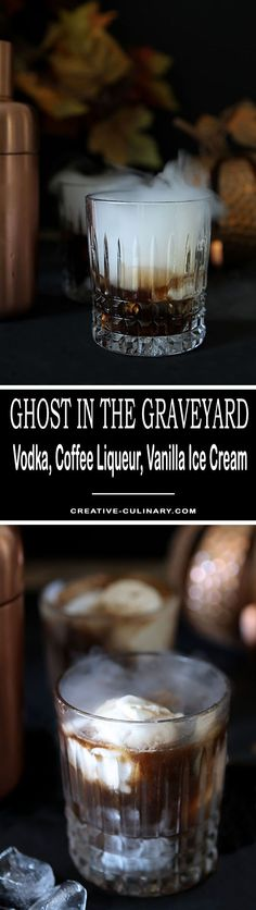 Simply change up the way you serve a White Russian and youve got a Ghost in the Graveyard. Its a fantastic dessert cocktail with vodka, coffee liqueur and vanilla ice cream. via Creative Culinary Halloween Cocktails, Halloween Food For Party, Holiday Drinks, Fun Drinks, Yummy Drinks, Holiday Recipes, Alcoholic Drinks, Beverages, Cocktail Desserts