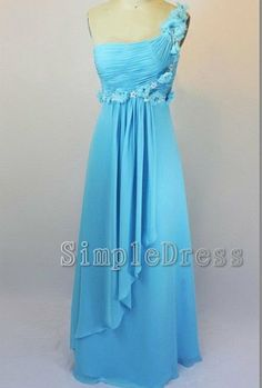 Custom A-line One-shoulder Floor-length Chiffon Flowers Sequin Long Prom/Evening/Party/Homecoming/Bridesmaid/Cocktail/Formal Dresses 2013