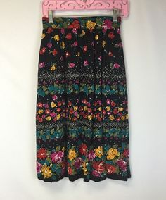 Ali Miles VTG Boho Skirt Floral Print Size 8 USA Made Bright and Bold