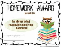 homework certificates sparklebox