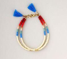 Multi brin Bracelet - Bracelet d'amitié - crème menthe bleu Aqua rouge Bourgogne or rose Pastel