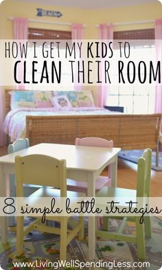 How I get my kids to clean their room.  One mom's battle to get her kids to keep their room clean, and the 8 strategies that have worked for her.