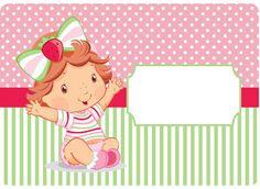 KIT FESTA PRONTA MORANGUINHO BABY GRÁTIS PARA BAIXAR Strawberry Shortcake Party, Baby Shower Invitaciones, Baby Images, Candy Wrappers, Frozen Birthday, Toy Store, Baby Cards, Princess Peach, Alice