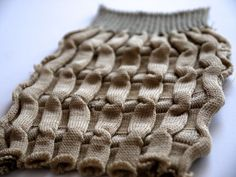 Experimental knit sample with structural pattern & texture; knitwear detail; textiles for fashion // Ellis Jaz