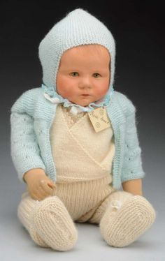 """19"""" weighted cloth Du Mein doll, known affectionately in collecting circles as the """"sand baby,"""" a teaching tool for young mothers and child carers, Germany, 1930-45, by Käthe Kruse."""