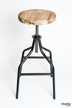 Handmade industrial swivel bar stool, steel and oak wood by FlyingChairs on Etsy https://www.etsy.com/listing/225456907/handmade-industrial-swivel-bar-stool