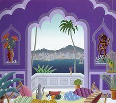Thomas McKnight - Jaipur Lake Pavilion Thomas Mcknight, Meditation Images, Art Thomas, Music Painting, Watercolor Painting, Naive Art, Bedroom Art, Artist Art, Pattern Art