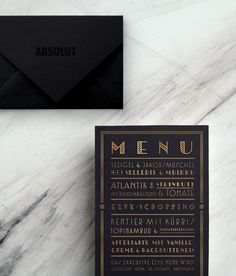 We were commissioned by Absolut Vodka to design a wide range of printed material for an exclusive 1920s themed event.