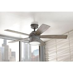 Home Decorators Collection 52 in. Indoor/Outdoor Weathered Gray Ceiling Fan