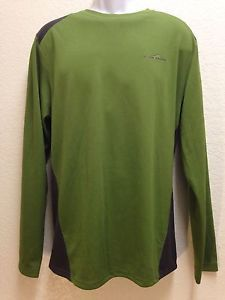 Eddie Bauer Active Fit Green Black Crewneck Cocona Mesh Long Sleeve Shirt L | eBay
