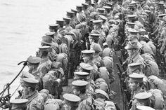 Australian troops on deck  HMS Prince of Wales before the landing