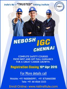 Safety Professionals are in demand, because Middle East countries require more candidates compared to last year. So we give you the chance to study NEBOSH IGC Course in Chennai and improve your career growth. So Hurry and Register on or before 10th April, 2015 For more detail: http://goo.gl/q1jSQk