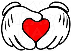 Child Size Mickey Inspired Mickey Mouse Hands Holding Heart Iron on Vinyl Design