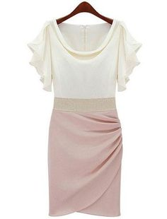 Chiffon  Flax Butterfly Sleeve Split Joint Fitted Dress (Pink)