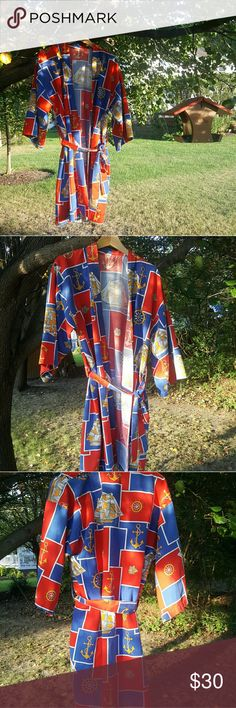 """{Vintage} nautical print bathrobe Vintage nautical print bathrobe. No tags, looks to be from the 60s or 70s. The right armpit needs a few stitches where it has come loose (pictured). No other noticeable flaws. Size is unknown. Please refer to the following measurements: 38"""" long  23"""" flat armpit to armpit  22"""" flat at waist Please note that all measurements were taken flat and without the sash tie.  This would make a funky long jacket! Vintage Intimates & Sleepwear Robes"""