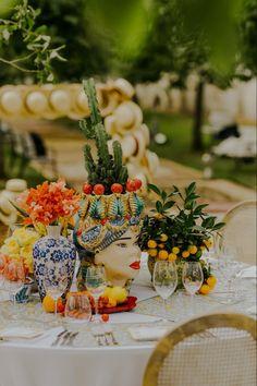 Italian Wedding Themes, Italian Themed Parties, 21st Birthday Themes, Sicily Wedding, Wedding Design Inspiration, Beautiful Table Settings, Wedding Table Decorations, California Wedding, Event Decor