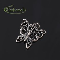 1 Sterling Silver Charm  Filigree Butterfly  SSCH012 by Craftemall, $4.80