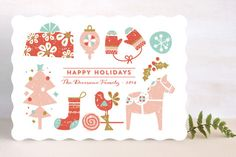 Icones De Noel Holiday Non-Photo Cards by Bonjour Paper at minted.com