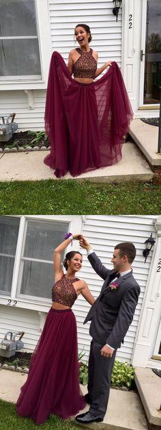 two piece prom dress, 2017 prom dress, long prom dress, evening dress, party dress, burgundy prom dress, claret prom dress, senior prom dress