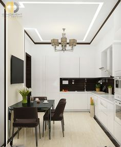 Современный стиль в интерьере белой кухни Dream Home Design, House Design, Kitchen Dining, Kitchen Decor, Modern, Kitchens, Decoration, Table, Crafts
