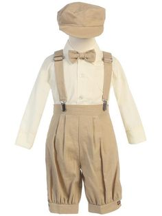 f43a05423 Infant Toddler Boys 4 pc Khaki Suspender Knickers  amp  Hat Suit Spring  Easter  Lito