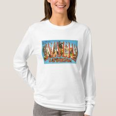 Shop Savannah Georgia GA Old Vintage Travel Souvenir T-Shirt created by AmericanTravelogue. Personalize it with photos & text or purchase as is! Movie T Shirts, Tee Shirts, Savannah, Georgia, Popular Christmas Gifts, White Tees, Warm And Cozy, Wardrobe Staples, Gingerbread