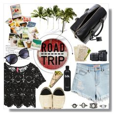 Road Trippin' in Style by asteroid467 on Polyvore featuring H&M, GUESS, Yves Saint Laurent, Charlotte Russe, Chronicle Books, Nikon and roadtrip
