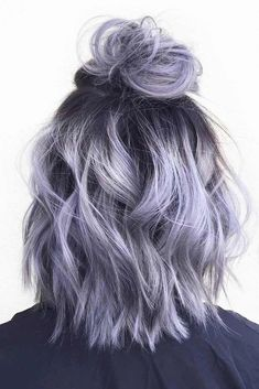 28 Impressive Silver Gray Ombre for Short Hair to Put You on Center Stage : Silver gray ombre hair color ideas for short hair managed to supplant the burning red, cold blue and extravagant purple hair dye. This shade is quite, Hair Color Long Bob Styles, Grey Ombre Hair, Silver Purple Hair, Black Hair, Purple Wig, Lilac Grey Hair, White Hair, Ombre Hair Bob, Short Lilac Hair