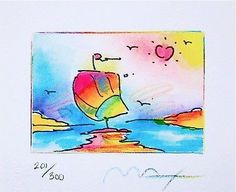 Sailboat Series II (Mini) by Peter Max - Art Commerce Yachting Club, Peter Max Art, Sailboat Art, Art Commerce, Watercolor Sketch, Museum Of Fine Arts, Water Crafts, Surreal Art, Online Art Gallery