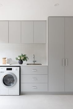 A laundry makeover that's practical, functional AND beautiful - - What a transformation! We chat to Jane Ledger Interiors about how this laundry makeover became both functional and beautiful. Laundry Area, Laundry Room Organization, Laundry In Bathroom, Laundry Closet, Laundry In Kitchen, Laundry Cupboard, Laundry Cabinets, Cupboards, Kitchen Cabinets