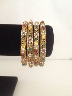Indian Bangles Set in Antique Finish and Indian Polki Stone 2.8 Green Red White