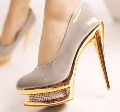NEW Women's Patent Leather Double Platform Pump Classic Stiletto High Heel Shoes Glitter High Heels, High Heels Stilettos, Sexy Heels, Pump Shoes, Shoes Heels, Man Shoes, Gold Shoes, Super High Heels, Beautiful Heels