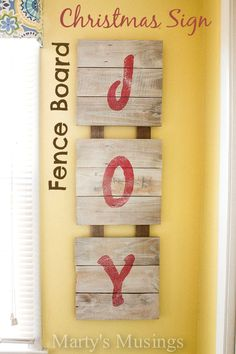 Fence Board Christmas Sign from Marty's Musings