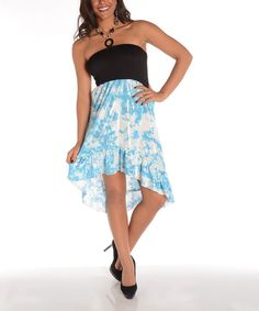 Take+a+look+at+the+Shoreline+Blue+Tie-Dye+Halter+Hi-Low+Dress+on+#zulily+today!