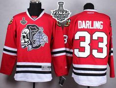 5d587db2e Blackhawks #33 Scott Darling Red(White Skull) 2015 Stanley Cup Stitched NHL  Jersey