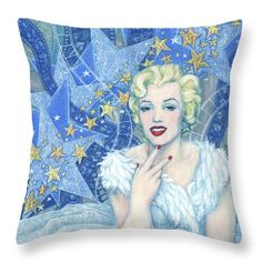 """Marilyn Monroe Throw Pillow Portrait from the """"Old Hollywood"""" series. Marilyn Monroe in white tulle dress and feather boa, a lot of little and big stars and celluloid films as a background. Blue, white, silver and light yellow colors. Artwork was inspired by Andy Warhol's portraits and Edmund Greene's photograph by Marilyn. Celebrity art, fine art portrait, acrylic painting. © Clipso-Callipso / Julia Khoroshikh #Marilyn, #Monroe, #hollywood, #contemporary, #art, #celebrity, #portrait"""