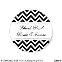 Shop Round Wedding thank you stickers Black And White Wedding Invitations, Wedding Invitation Sets, Wedding Stationery, Wedding Themes, Wedding Favors, Thank You Stickers, Wedding Stickers, Wedding Thank You, Custom Stickers