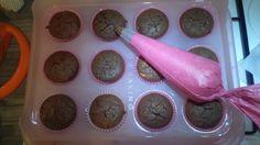 Icing chocolate cupcakes