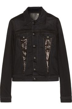 Snake-effect leather and denim jacket by R13