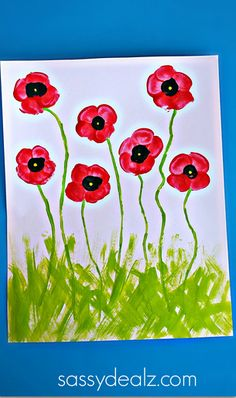 Use as cover of Mothers Day card.  Fingerprint Poppy Flower Craft for Kids - Sassy Dealz