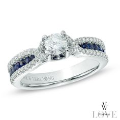 Vera Wang LOVE Collection 3/4 CT. T.W. Diamond and Blue Sapphire Engagement Ring in 14K White Gold