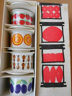 I love this package design more than the pots. Arabia Finland ceramic pots.