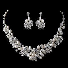 Beautiful Freshwater Pearl and Rhinestone Floral Wedding Jewelry Set - Affordable Elegance Bridal -